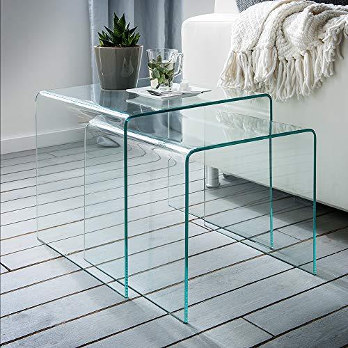 Möbisandmore Cecile 2-delig glazen design bijzettafel