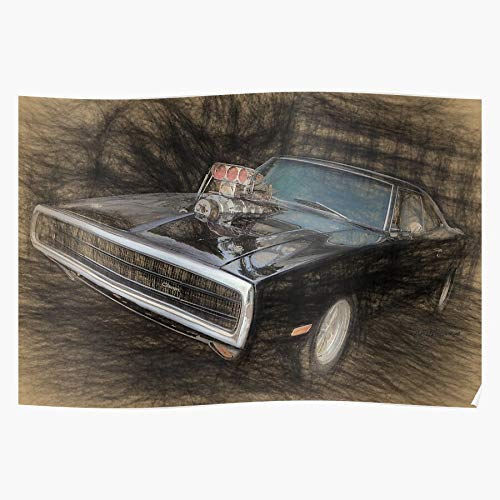 US210PT Dodge Muscle Furious Charger Dom and Fast Diesel Vin Car, Gift for Home Decor Wall Art Print Poster