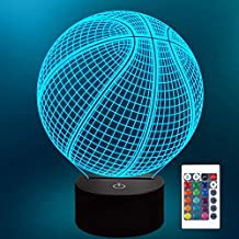 Lampeez Kids 3D Basketball Night Light Optical Illusion Lamp with 16 Colors Changing Remote Control Birthday Xmas Valentine's Day Gift Idea for Sport Fan Boys Girls
