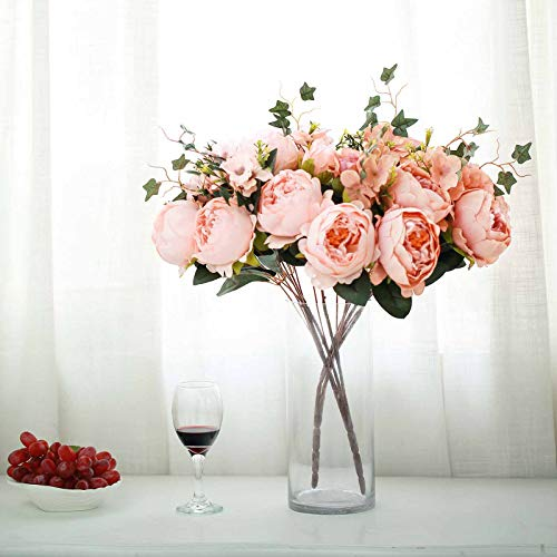 Efavormart 2 Bushes Blush Peony, Rose Bud and Hydrangea Artificial Silk Flower Bouquets for Wedding Home Floral Arrangement