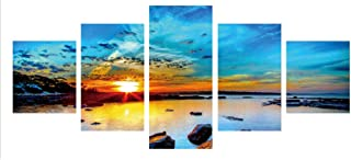 ShapeW 5D Diamond Painting Kits Full Drill Diamond Embroidery,5 Sets of Splicing Paintings (Sunrise)-35.43inx17.72in