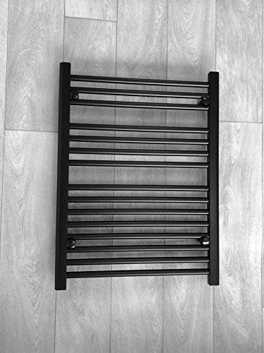 Handtuchheizkörper, flach, 600 mm breit, für stilvolles Badezimmerwärmer, Zentralheizung, 600 x 800 mm hoch, Schwarz