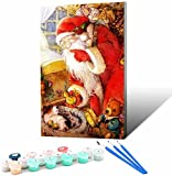 Vfvozr Paint by Numbers con Marco de_Soñar con Papá Noel Nevado_Madera Pintura acrílica para_Adultos y niños Principiantes_30x45cm_Marco de Bricolaje