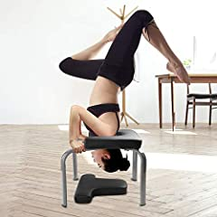 Yoga Inversion Chair will Safely build core strength and practice your inversions, this will relieve a lot of neck tension, also will solve the problems of headstands and shoulder stands in yoga practice. With high-density PU cushion to make you quit...