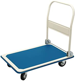 Platformwagen inklapbaar handvat 90x60x85 cm blauw wit