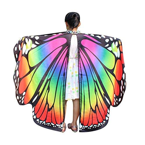 Amphia - Mädchen Schmetterlings-Flügel-Schal,Kind Baby Mädchen Schmetterlingsflügel Schal Schals Nymphe Pixie Poncho Kostüm Zubehör(Mehrfarbig,One Size)