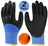 Cold Weather Work Gloves 2 Pairs, Polar Fleece Liner Thermal Gloves, Double Coating Superior Grip Durable for Outdoor Winter Fishing Garden Construction Ice Snow Activities - Colorful