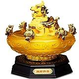 Decoración Feng Shui/Escultura Feng Shui de oro Pi Yao / Pi Xiu estatua Lingotes / Yuan Bao tesoro Cuenca Riqueza Porsperity Figurita mejor estreno de una casa de felicitación regalo de la decoración