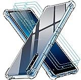 ivoler Funda para Sony Xperia L4 con 3 Unidades Cristal Templado, Carcasa Protectora Anti-Choque Transparente, Suave TPU Silicona Caso Delgada Anti-arañazos Case