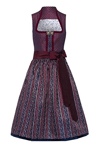 Moser Aurelia 003266 - Vestido de tirolesa para mujer, talla 70, color berenjena y azul Aubergine – Azul berenjena a rayas. 38
