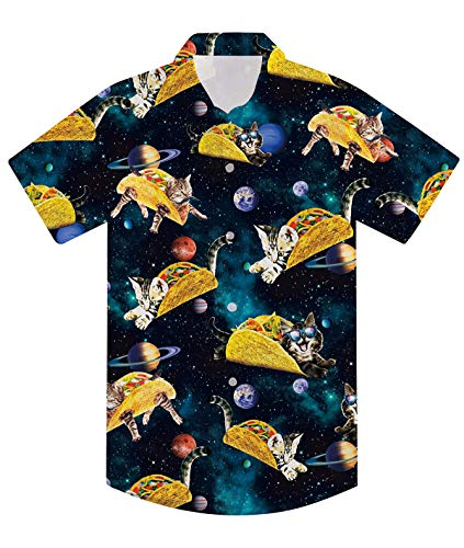 uideazone Universe Pizza Cat Novelty Shirts for Boys Short Sleeve Button Down Collared Shirts Blue Relaxed Fit 3D Funny Cat Graphic Summer Playwear Aloha Shirts
