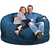 ULTIMATE SACK 6000 (6 Ft.) Bean Bag Chair: Giant Foam-Filled Furniture - Machine Washable Covers, Double Stitched Seams, Durable Inner Liner, and 100% Virgin Foam. Comfy Bean Bag Chair. (Cloud, Suede)