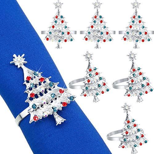 Set of 12 Christmas Tree Napkin Rings Xmas Napkin Rings Holder Buckle Set Christmas Rhinestone Diamond Metal Alloy Napkin Ring Buckle for Christmas Wedding Thanksgiving Dinner Table Decor (Silver)