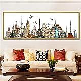 WADPJ Carteles Modernos Impresiones Lienzo Pintura París Dubai Roma Nueva York Paisaje Urbano Arte de la Pared Imágenes Sala Decoración para el hogar-40x150cmx1 Piezas sin Marco