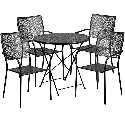 LIVING TRENDS 30'' Round Black Indoor-Outdoor Steel Folding Patio Table Set with 4 Square Back Chairs