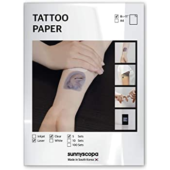 "Sunnyscopa Printable Temporary Tattoo Paper for LASER printer - US LETTER SIZE 8.5""X11"", 5 SHEETS - DIY Personalized Image Transfer Sheet for skin - Custom Waterslide Decal Stencil Henna"
