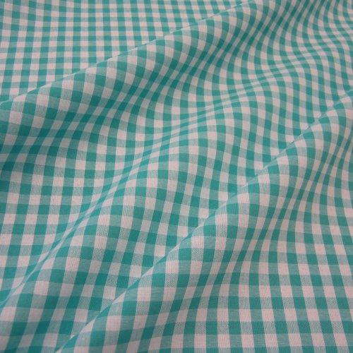 Bauernkaro tissu vendu au mètre turquoise voilage à carreaux style maison de campagne blanc