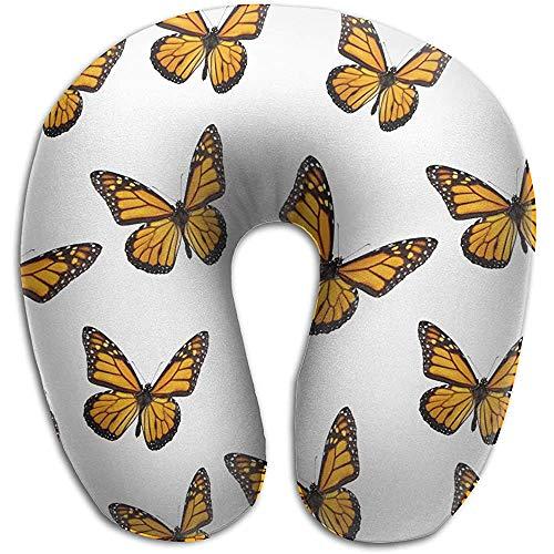 Mariposa Flying Memory Foam Almohada de Viaje Cuello Redondo en Forma de U Soporte para la Cabeza Aliviar la Fatiga Cervical para los Aviones para Dormir Tren y Camping