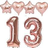 Globo de 100 cm con número 13 para cumpleaños y niñas, color oro rosa + 4 globos de aluminio con número 13, globos de helio de color oro rosa para 13 cumpleaños para niñas, decoración número 13