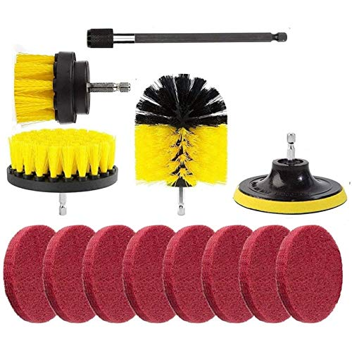 LYYCEU Hot 13Pcs Drill Brush Attachment Cancel Pads Cleanup Brush Power Scrubber Set For Car Grout Bathroom Carpet Tile Brick Utilities