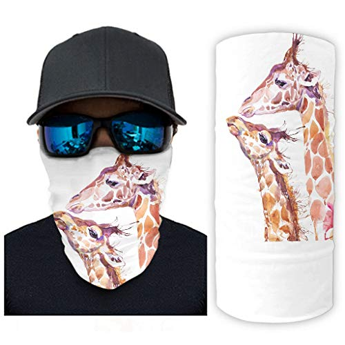 CCMugshop Bandanas para la cara, acuarela, diseo de jirafa, color blanco, talla nica