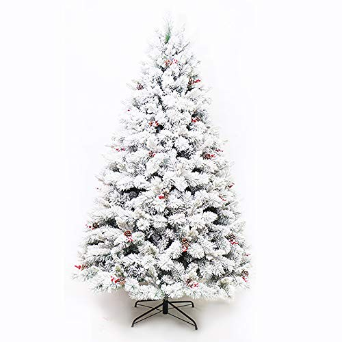 ZZFF Holiday Snow Flocked Artificial Christmas Tree,Unlit Pre-decorated Hinged Douglas Pine Xmas Tree With Red Berries For Home Office Party Decor 300cm 10ft-White 300cm/10ft