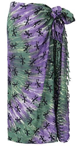 Guru-Shop Bali Sarong, Wandbehang, Wickelrock, Sarongkleid, Herren/Damen, Celtic Gecko Lila/grün, Synthetisch, Size:One Size, 160x100 cm, Sarongs, Strandtücher Alternative Bekleidung