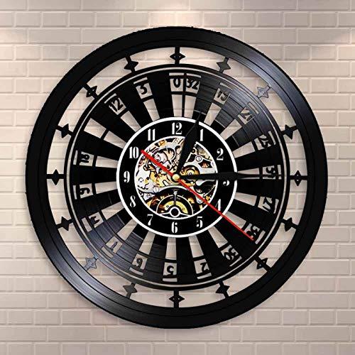 NUYI Casino Reloj de Pared Gamble Room Sign Decoración de Pared Disco de Vinilo Reloj de Pared Las Vegas 777 Juego de póquer Naipes Ruleta Reloj Reloj