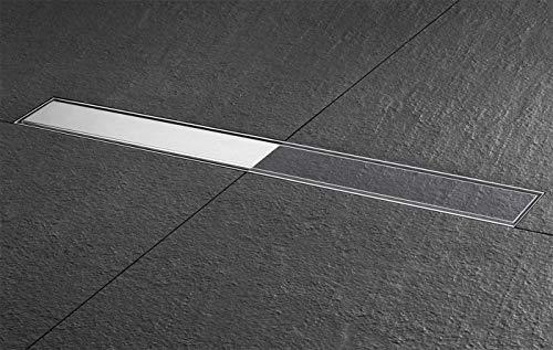 ESS Duschrinne Basic Drain Komplett Set befliesbar/Edelstahl gebürstet 600mm / 60cm