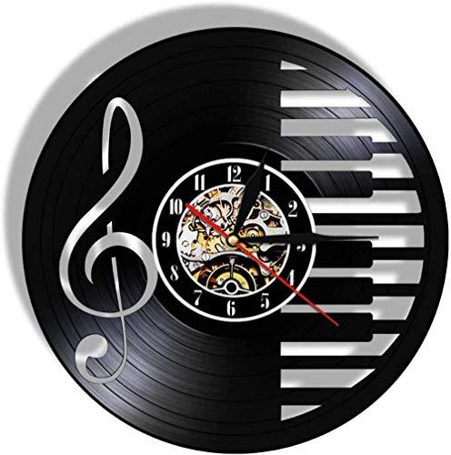 ZZLLL Orologio da Parete con Dischi in Vinile Design Moderno Musica Note di Pianoforte Cambio di Orologio Freak Chiave di Violino Simbolo Icona Decorazione -12 Pollici