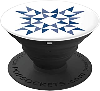 Blue Geometric Quilt Block Look - PopSockets Grip and Stand for Phones and Tablets