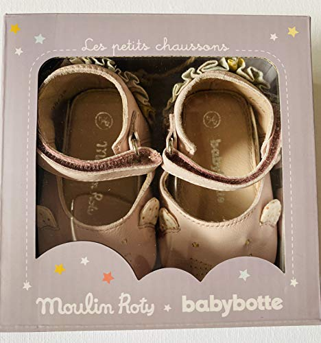 Moulin Roty 664521 Babyschuhe Kätzchen Lederschuhe Lauflernschuhe 0-6 Monate Rosa Babybotte
