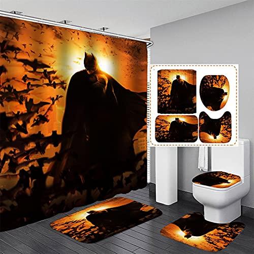 xiemengyangdeshoop Duschvorhang-Batman Wasserdicht Und Schimmelresistent Haushalt Hotel Badezimmer Produkte Vierteilige Badezimmermatte 200(B) X180(H) cm