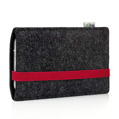 stilbag Handyhülle Leon für TP-Link Neffos X9   Farbe: anthrazit/rot   Smartphone-Tasche aus Filz   Handy Schutzhülle   Handytasche Made in Germany