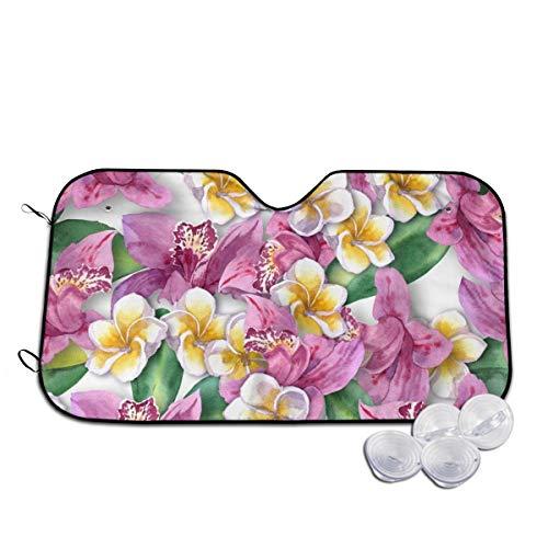 Aquarell Orchideen und Plumeria Auto-Frontscheiben-Sonnenschutz blockiert UV-Strahlung, um Ihr Fahrzeug kühl zu halten, für SUV, LKW, personalisierbar Gr. 85, weiß