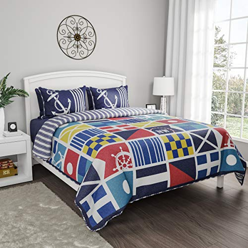 Lavish Home Collection Quilt Bedspread Set with Exclusive Mariner Design- 2 Piece Twin XL Set With Pillow Sham, Nautical Coastal Theme, Reversible, Hypoallergenic
