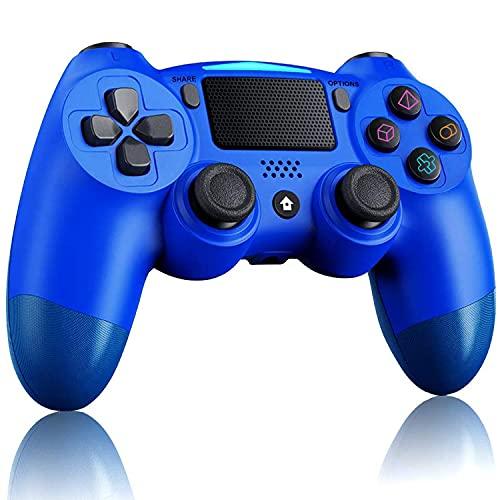 Lampelc Wireless Controller für PS4, Game Controller für PS4/Pro/Slim/PC, Bluetooth Gamepad Joystick mit Touch Panel Six-Axis Dual Vibration Shock und Audio Jack (Blau)