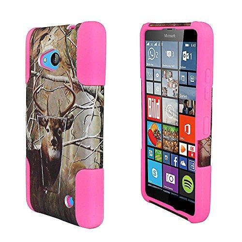 Microsoft Lumia 640 LTE / ITUFFY(TM) 2 items Combo: Stylus Pen+ Dual Layer Impact Resistance Hybrid Armor KickStand Case (Tree Deer Camouflage - Hot Pink)