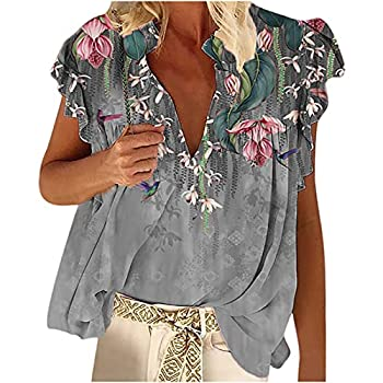 TARIENDY Boho Clothing for Women Retro Floral Printed Blouse Loose V-Neck Ruffled Vest Casual Sleeveless Tops Gray