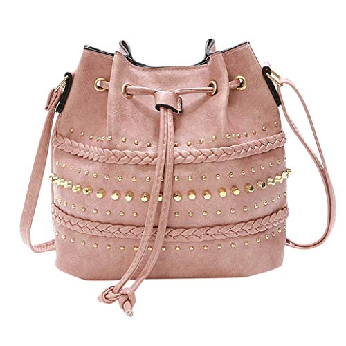 Purchase Leaf2you Women Artificial Leather Rivets Drawstring Bucket Bag Shoulder Bag Messenger Bag C...