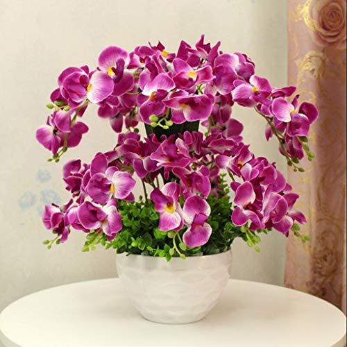 JHDPH3 Composizione Floreale Artificiale con Vaso in Porcellana Bianca, Fiori Artificiali E Interno Piante, Plastica (Color : Purple)