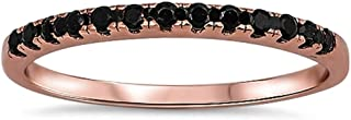 Rose Gold Plated Black Onyx Eternity Band .925 Sterling Silver Ring Sizes 3-11