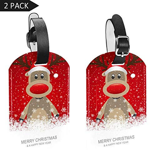 Gepäckanhänger Merry Christmas Hut Hirsch mit Schneeflocke, Leder, Reisegepäcketiketten, 2 Packungen