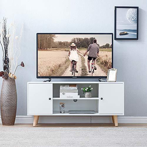 Meuble TV Scandinave avec 2 Portes et 2 Étagères, Blanc, 116x39,5x53,5 cm
