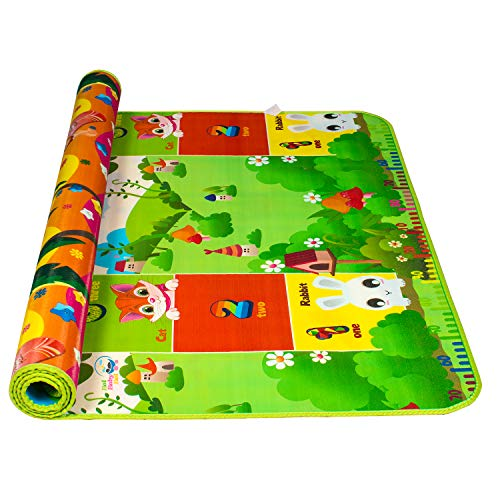 BOL BABY BOL Educational Double Sided Water Proof Baby Mat Carpet Baby Crawl Play Mat Kids Infant Crawling Play Mat Carpet Baby Gym Water Resistant Baby Play & Crawl Mat(Size - 6 Feet X 4 Feet)