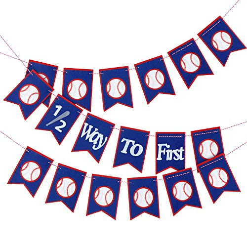 3 Pieces 1/2 Way to First Baseball Banner Felt Baseball Birthday Banner Half Year Anniversary Double-sided Printing Banner Birthday Decorations Baseball Theme Party Supplies