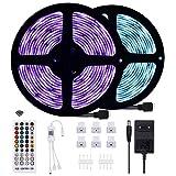 Anpro - Tira de LED de 10 m, Bluetooth-5050 RGB, impermeable IP65, puede ser controlada por la aplicación, apto para iluminación interior y exterior, festivales, fiestas, eventos, fácil de instalar