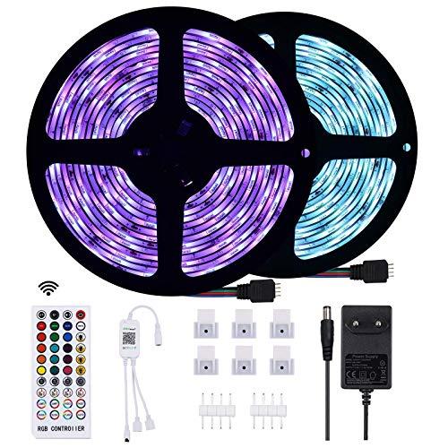 Anpro Striscia LED 10M Bluetooth-5050 RGB Impermeabile IP65, può Essere Controllato dall Applicazione, Adatto per Illuminazione Interna ed Esterna, Festival, Feste, Eventi, Facile da Installare
