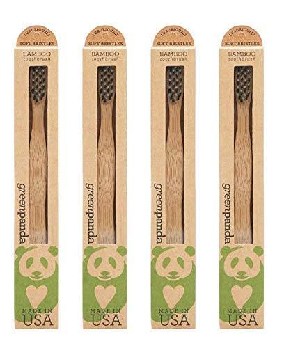 Green Panda Natural Bamboo (Made USA) Toothbrush (Pack of 4)