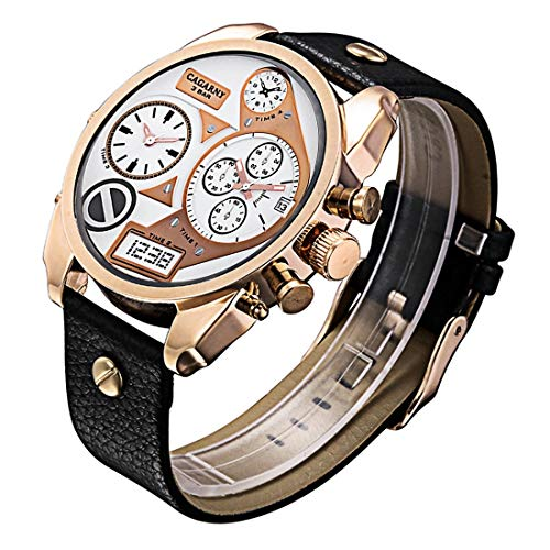Moda Concise Style dial Grande de Doble Caja de Cuarzo Reloj de Pulsera de Reloj de Oro Rosa Movimiento con Banda de Cuero y GMT Hora y Funciones de Calendario for los Hombres 1826 Mirar